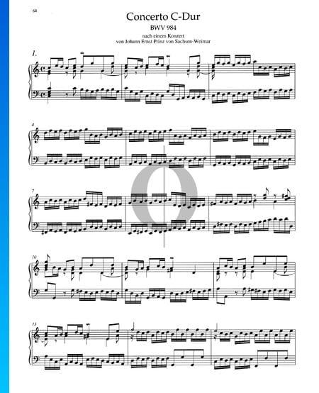 Concerto in C-Dur, BWV 984: 1. Allegro Musik-Noten