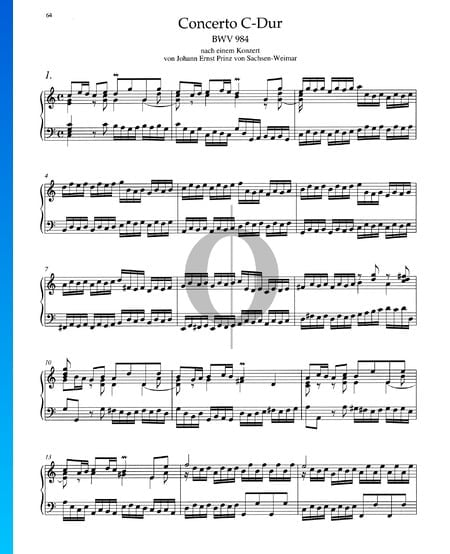 Concerto in C Major, BWV 984: 1. Allegro Sheet Music