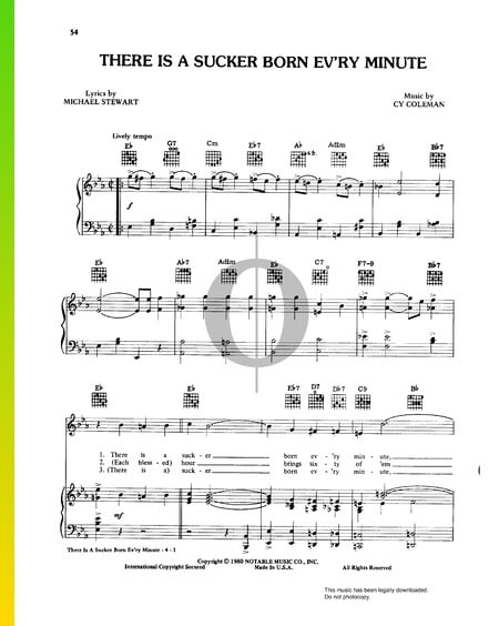 There Is A Sucker Born Ev'ry Minute Sheet Music