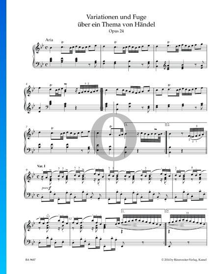 Variations and Fugue on a Theme by Handel, Op. 24: Aria and Variation I Sheet Music