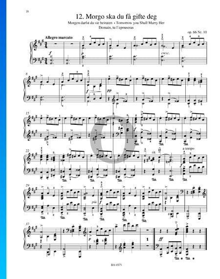Morgo ska du fa gifte deg, Op. 66 n.º 10 Partitura