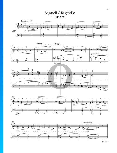 14 Bagatelles BB 50, Sz. 38 (Op. 6) : Bagatelle No. 6 Partition