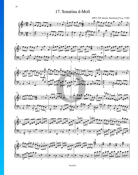 Sonatina D Minor, HWV 581 Sheet Music