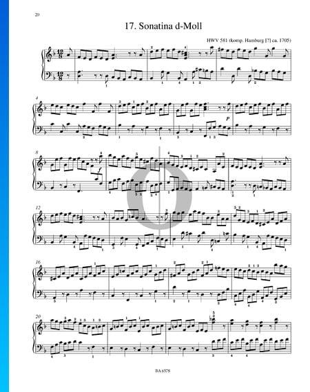 Sonatina d-Moll, HWV 581 Musik-Noten