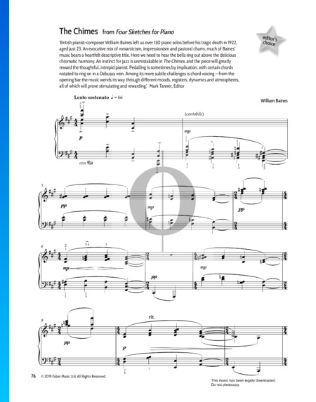 Four Sketches for Piano: The Chimes Partitura