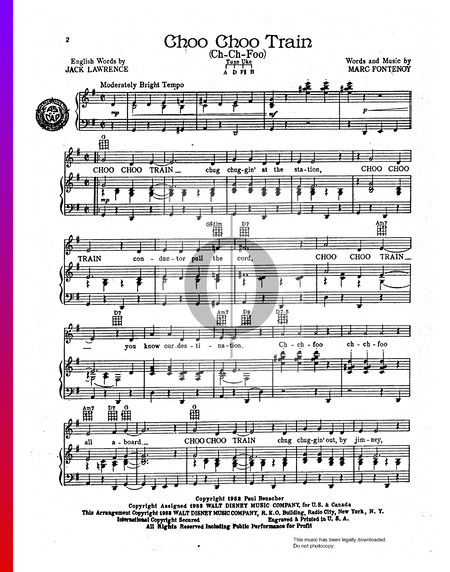 Choo Choo Train (Ch-Ch-Foo) Sheet Music