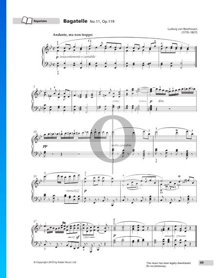 Bagatelle No. 11, Op. 119 Sheet Music