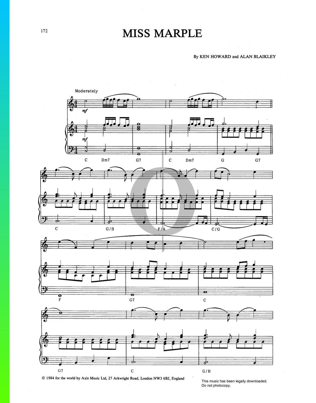 ▷ Miss Marple Sheet Music (Piano, Oboe) - PDF Download & Streaming