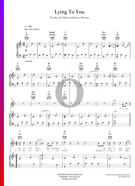 Lying To You Sheet Music