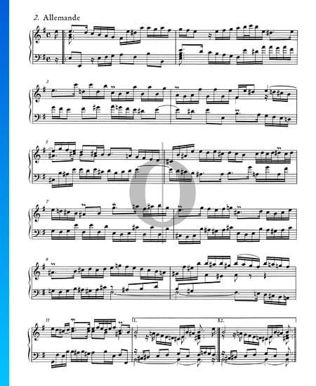 Englische Suite Nr. 5 e-Moll, BWV 810: 2. Allemande Musik-Noten