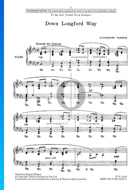 Four Musical Sketches for Piano: No. 2 Down Longford Way Partitura