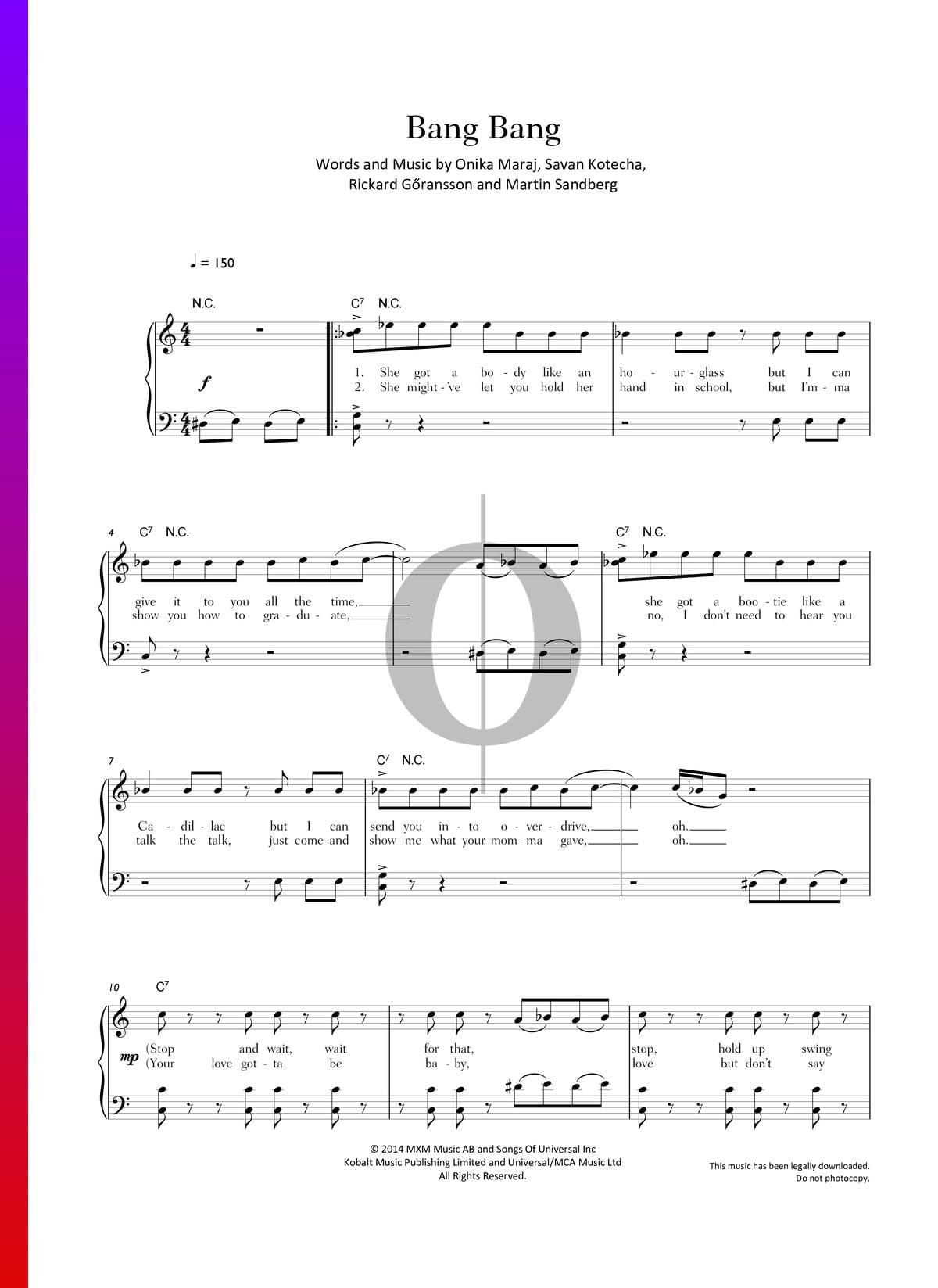 Bang Bang Sheet Music Piano Voice Pdf Download
