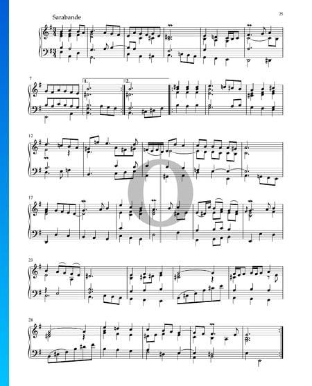 Partita en mi menor, BWV 1002: 5. Sarabanda Partitura