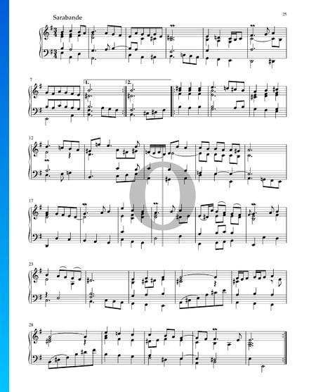 Partita en Mi mineur, BWV 1002: 5. Sarabande Partition
