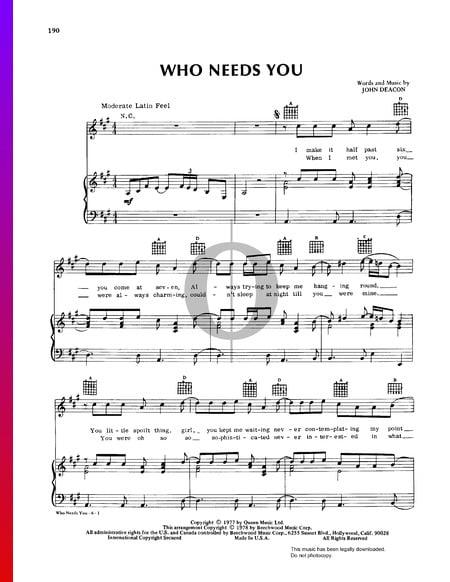 Who Needs You Partitura
