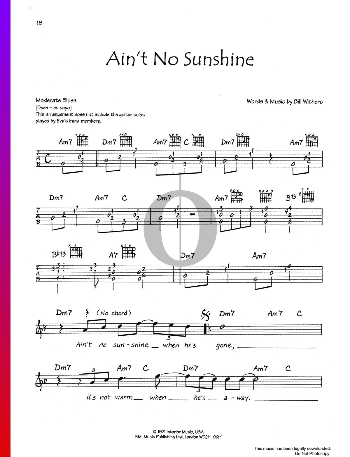 Ain T No Sunshine Sheet Music Piano Voice Guitar Pdf Download Streaming Oktav Start when he says shes the first time aint no sunshine when shes gone it goes like this, in the i know i know part, no guitar. ain t no sunshine sheet music piano