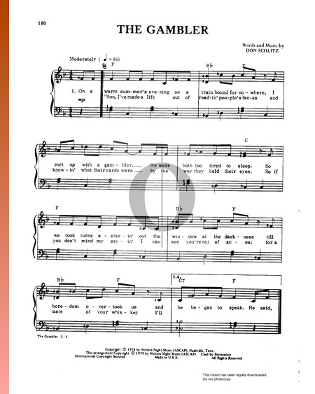The Gambler Sheet Music