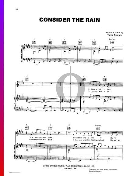 Consider The Rain Sheet Music