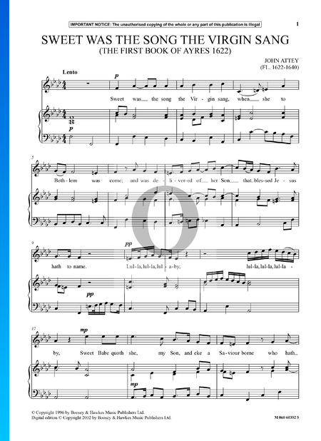 Sweet Was The Song The Virgin Sang Sheet Music