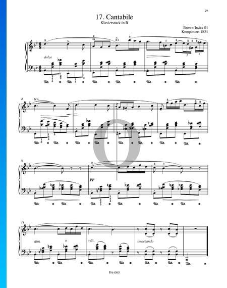 Cantabile - Pièce pour Piano en Si bémol Majeur, B. 84 Partition