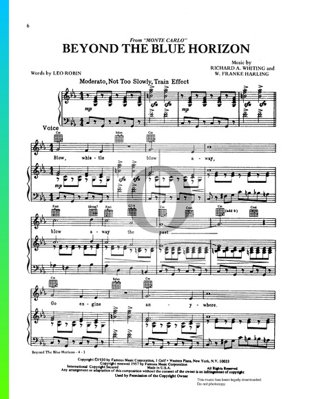 Beyond The Blue Horizon Sheet Music