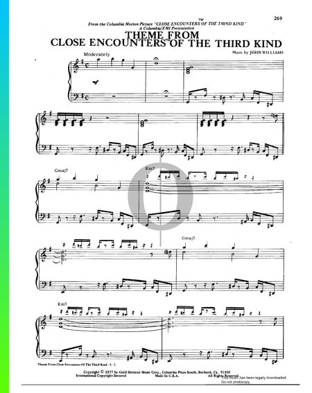 Close Encounters Of The Third Kind Theme Sheet Music