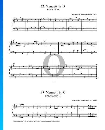 Menuet en Do Majeur, KV 1 et Trio (KV 6 1f) Partition