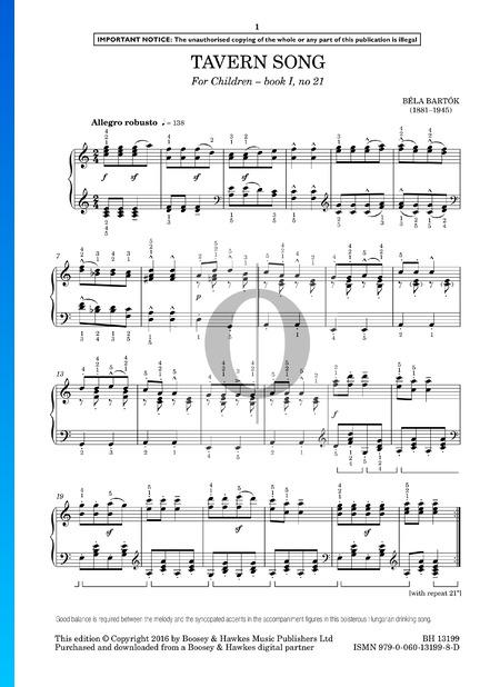 Für Kinder, Sz. 42 Vol. 1: Nr. 21 Tavernenlied Musik-Noten