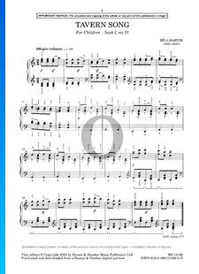 For Children, Sz. 42 Vol. 1: No. 21 Tavern Song