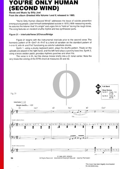You're Only Human (Second Wind) Sheet Music