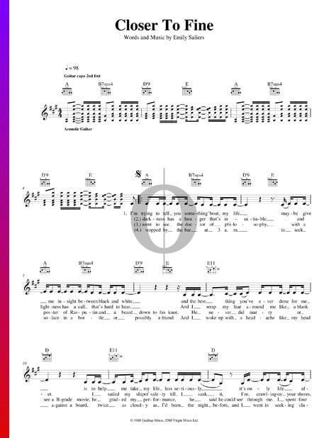 Closer To Fine Sheet Music