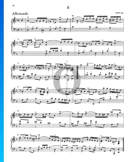 Suite D Minor, HWV 447: 1. Allemande Sheet Music