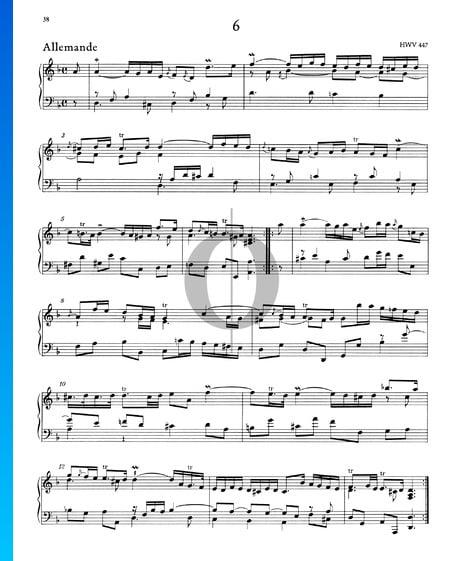 Suite d-Moll, HWV 447: 1. Allemande Musik-Noten