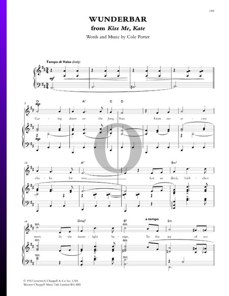 Wunderbar Sheet Music