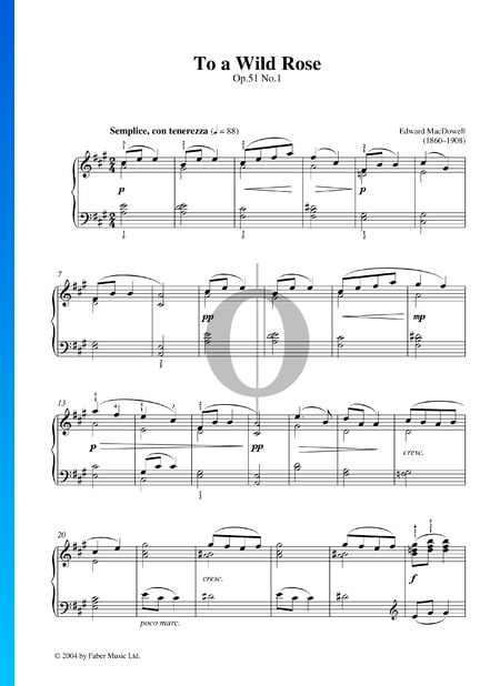To A Wild Rose, Op. 51 n.º 1 Partitura