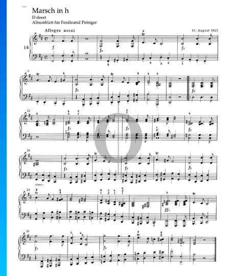 March in B Minor, D deest Sheet Music
