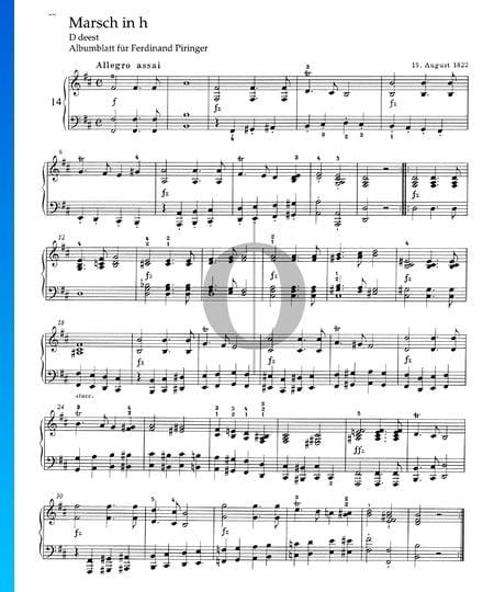 Marsch in h-Moll, D deest Musik-Noten