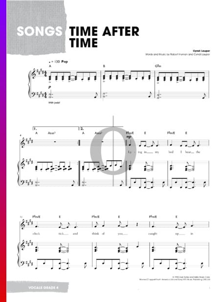 Time After Time Musik-Noten