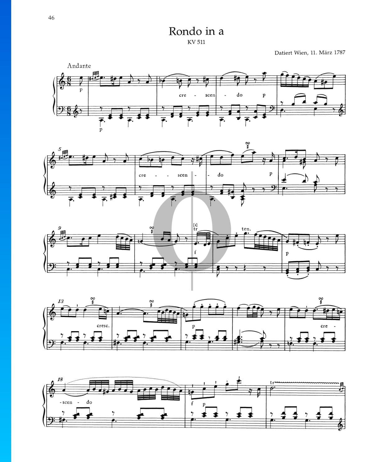 ▷ Rondo A Minor, KV 511 Sheet Music (Piano Solo) - PDF Download