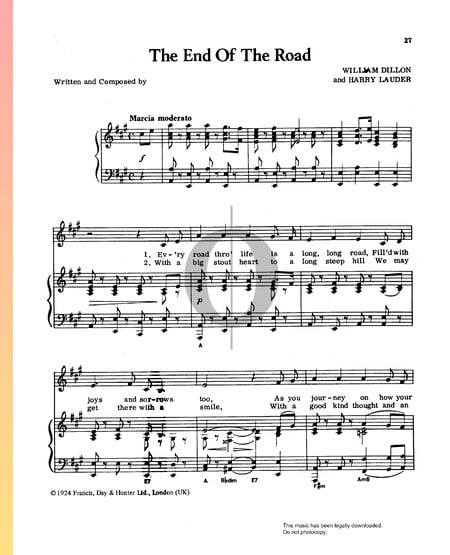 The End Of The Road Sheet Music
