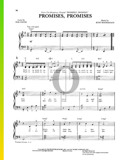 Promises, Promises Sheet Music