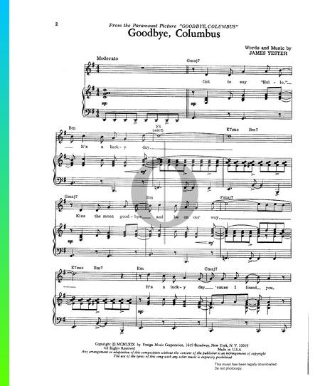 Goodbye Columbus Sheet Music