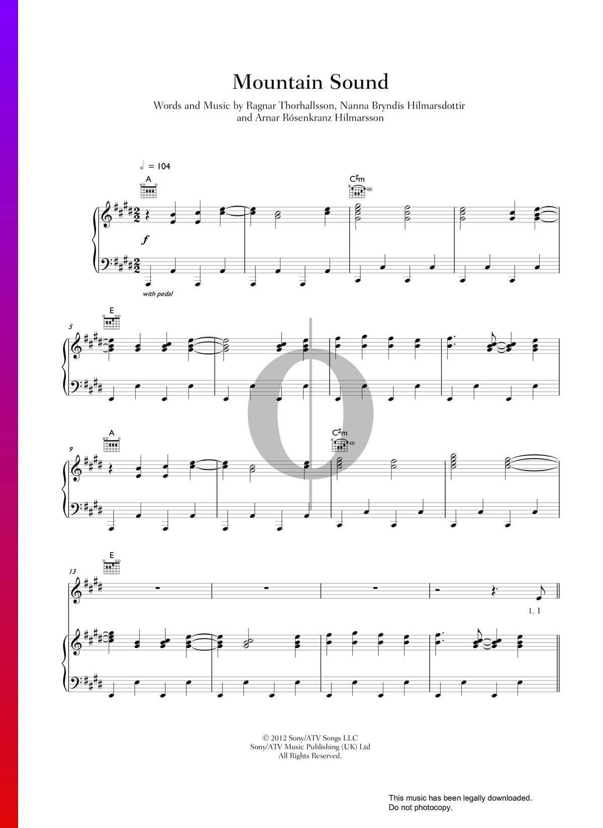 ▷ Mountain Sound Sheet Music (Piano, Voice, Guitar) - PDF Download
