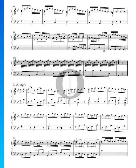 Concerto in B-Dur, BWV 982: 3. Allegro Musik-Noten