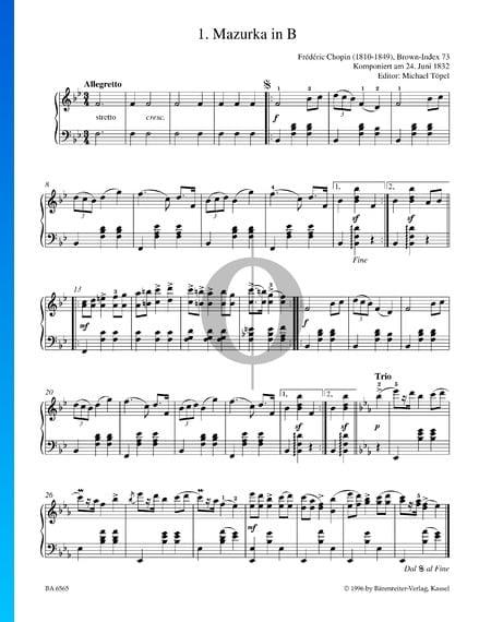 Mazurka in B-Dur, B. 73 Musik-Noten