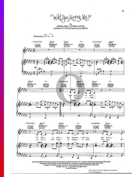 Will You Marry Me Sheet Music