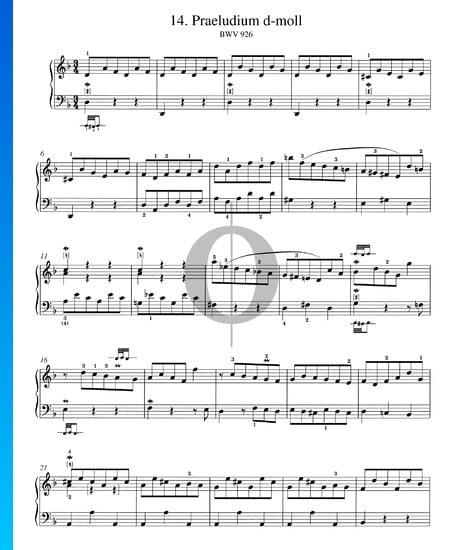 Praeludium d-Moll, BWV 926 Musik-Noten