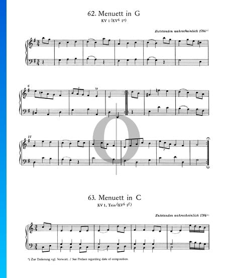 Menuet in G Major, KV 1 (KV 6 1e) Sheet Music