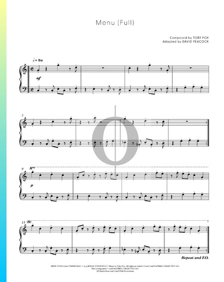 Menu (Full) Partitura
