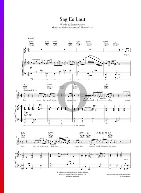 Sag es laut Sheet Music